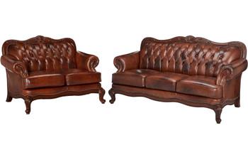 GORDON Top Grain Leather Sofa And Loveseat