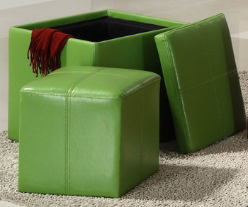Rainy Green Storage Ottoman