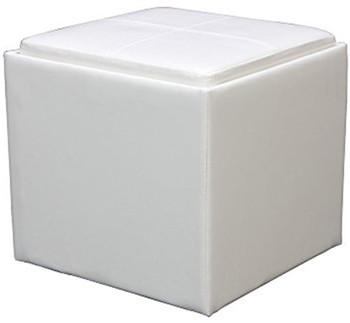 Rainy White Storage Ottoman