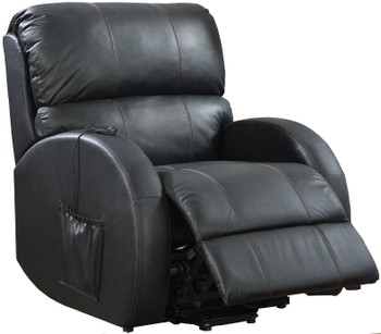 Atlas Black Top-Grain Leather Power Lift Recliner Chair