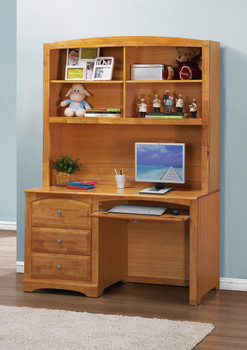ELIAS 24'' Wide Natural Finish Desk and Desk Hutch