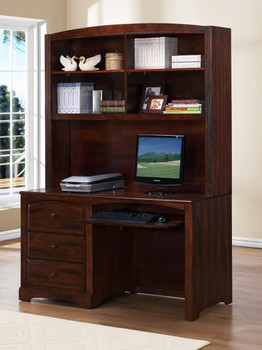 ELIAS 24'' Wide Expresso Finish Desk and Desk Hutch