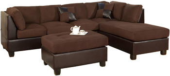 Monica Chocolate Reversible Sectional & Ottoman