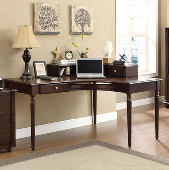 HARVEY 60'' Wide Cappuccino Desk with Hutch