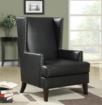 Lexie Black Leather Accent Chair With Chrome Nailheads