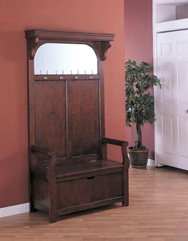 Mike Cherry Hall Tree With Mirror/Storage Bench/Coat Hooks