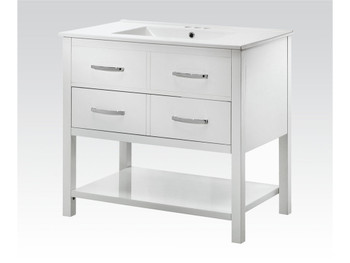 Jaida White Real Marble Top White Finish Sink