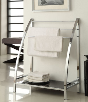 Jerrick Chrome Metal Towel Rack And Tempered Black Glass Shelf