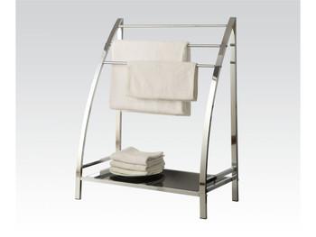 Jerrick Chrome Metal Towel Rack And Tempered Black Glass Shelf