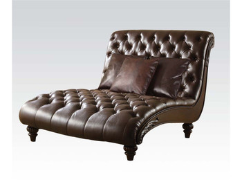 Stanley Espresso Leather Lounge Chaise with Pillows