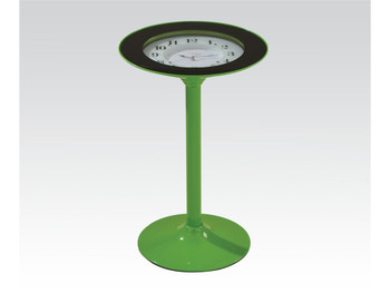 Delroy Green Side Table With Clock
