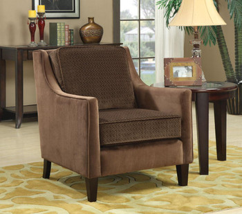 Clevon Brown Accent Chair Microvelvet Fabric