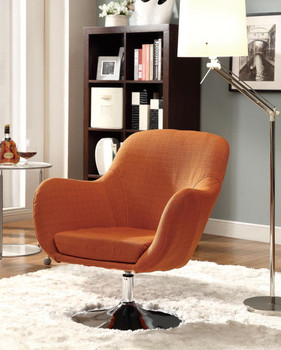 Ollie Orange Swivel Accent Chair Linen-Like Fabric