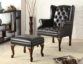 Berlin Black Arm Chair with Ottoman