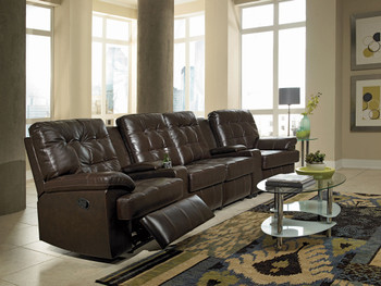 Kolten Chocolate Leather 6-PC Theater Seats