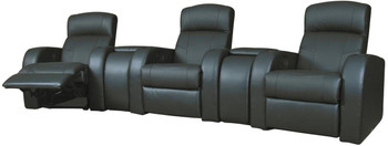 Maxx Black Leather Reclining Theater Seats 5-PC