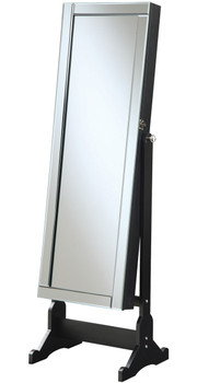 Aleta Black Floor Mirror with Jewelry Storage