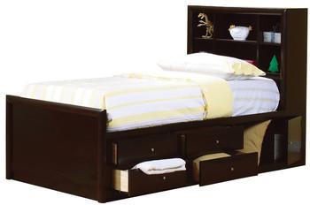 Luke Twin Cappuccino Bookcase Bed