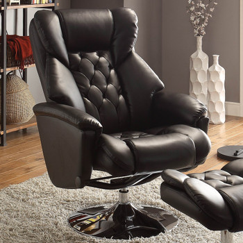 Basel Black Leather Swivel Reclining Chair W/Ottoman