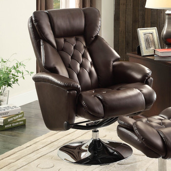 Basel Dark Brown Leather Swivel Reclining Chair W/Ottoman