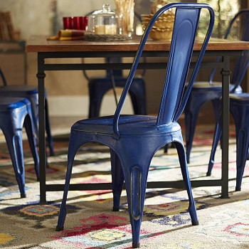 Brianplace Blue Metal Chair