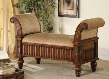 Constance Bench Upholstered with Rolled Arms