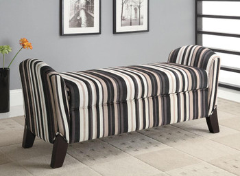 Cordell Black/Brown Stripes Storage Bench