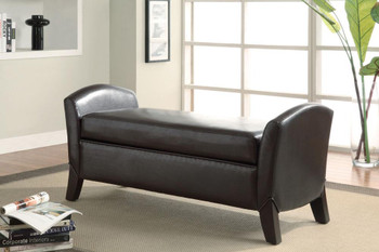Carlton Dark Brown Leather Storage Bench