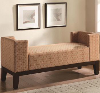 Carpus Burnt Orange Geometric Pattern Fabric Bench