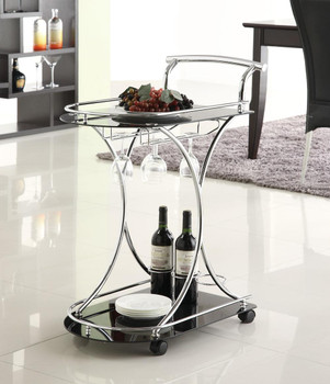 Layton Black/Chrome Serving Cart