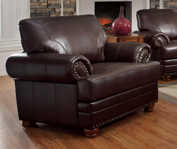 Royce Brown Leather Arm Chair