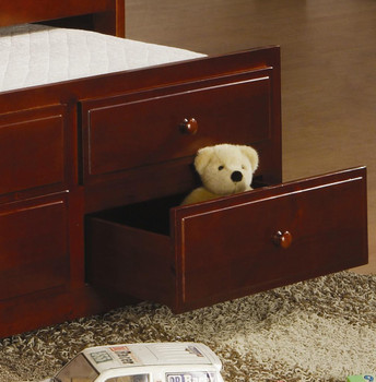 EMBRY Brown Trundle Bed with Drawers