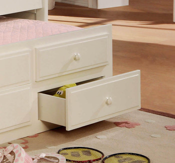 Embry White Trundle Bed with Drawers