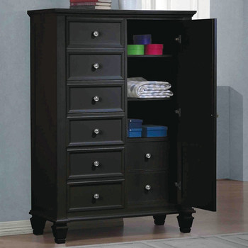 "Lozano Black 60""H Door Chest"