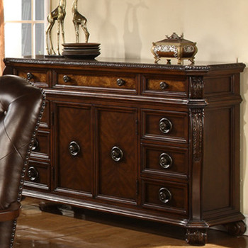 Bradford Dark Brown Server & Hutch