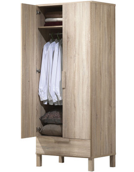 "Nesta Natural Oak 79""H Wardrobe with Drawer"