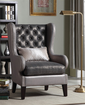 Leandra Gray Accent Arm Chair with Nailheads