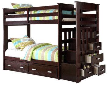JESS Espresso Twin Bunk Bed With Storage