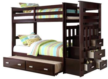 JESS Espresso Twin Bunk Bed With Storage