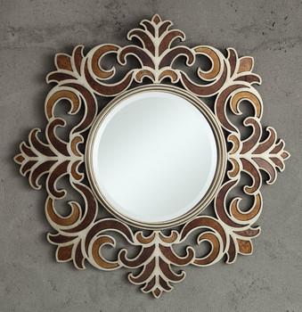 Fleurs Round Accent Wall Mirror