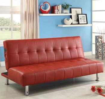 Slacker Red Sofa Bed with Side Pocket