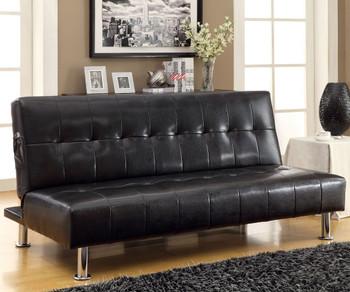 Slacker Black Sofa Bed with Side Pocket