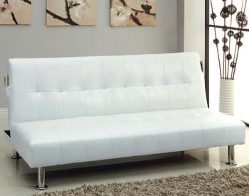 Slacker White Sofa Bed with Side Pocket