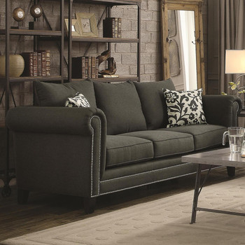 Beatrice Charcoal Linen Sofa And Loveseat