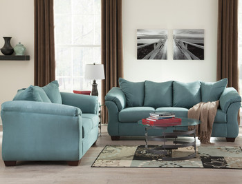 EDELINE Sky Blue Sofa & Loveseat