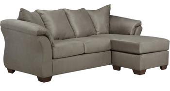 "EDELINE Stone Gray 89"" Wide Gray Sofa Chaise"