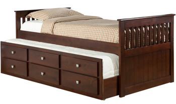 BRIDGET Dark Brown Trundle Bed with Drawers