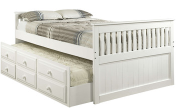 Hilda White Trundle Bed with Drawers