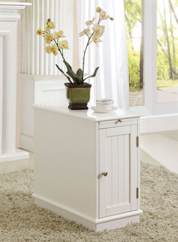 Halvar White Chairside Table with Pull-Out Tray