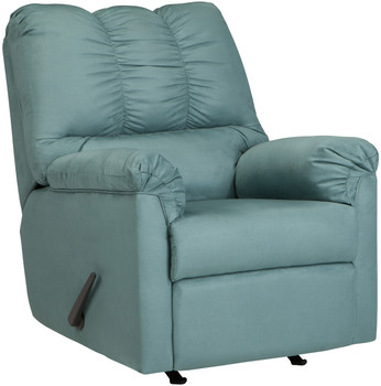 Edeline Sky Blue Plush Rocker Recliner